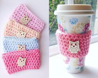 Crochet owl Coffee cup mug cozy / tea cosy / warmer / holder. Cute accessory gift for her