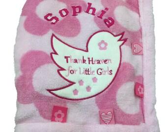 Thank Heaven For Little Girls Personalised Baby Blanket