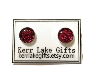 Pink black faux fused glass earrings studs, Plastic post earrings, For sensitive ears, Nickel free studs, Pink studs, Cute earrings studs