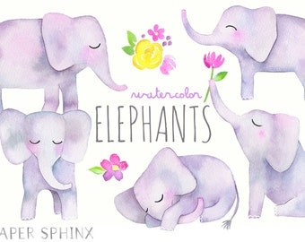 Watercolor Elephant Clipart | Baby Elephants - Illustrated Nursery Wall Art - Baby Shower - Digital Instant Download PNG