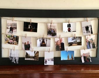 Rustic Clothespin Picture Frame / Photo Display - Wedding Display - Clothesline Collage - Includes line and small pins 24x48