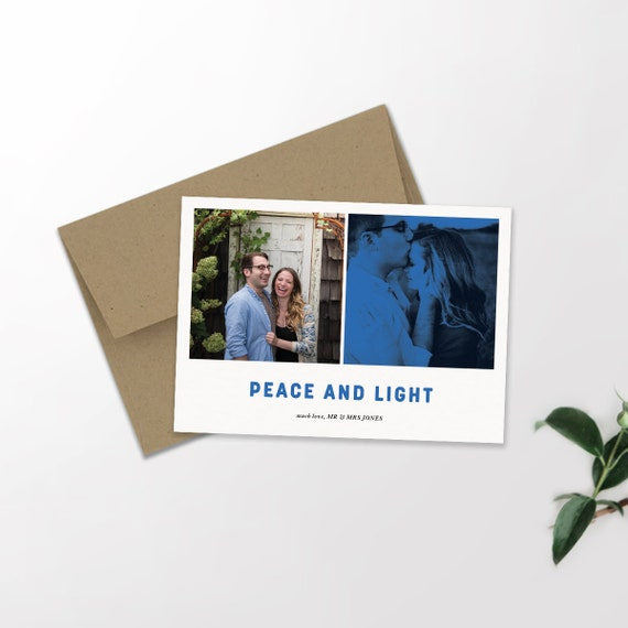 Multi Photo Modern Holiday Card | Happy Hanukkah | Chanukkah | Peace and Light | Holiday Card | Shalom | Custom Card