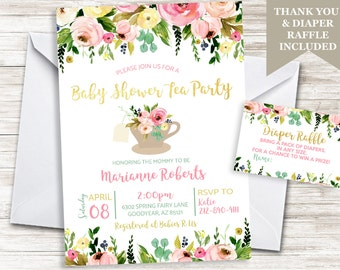 Baby Shower Tea Party Invitation Invite Sprinkle Floral Flowers Gold Garden Digital 5x7 Personalized Diaper Raffle Included