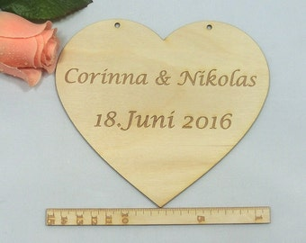 Wooden heart with your own engraving, names of spouses + date, data of the bride and groom or your own saying, heart with holes