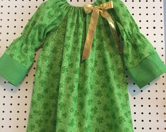 St. Patrick's Day, sparkly gold and green shamrocks dress in sizes 4T