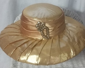 1980s Pleated Brim Gold Lame Hat with Sequin and Rhinestones.. Perfect for any special event, bridal or party!