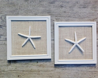 Set of 2 -  12 X 12 inch Starfish Wall Decor  Beach Seaside Nautical Wall  Decor