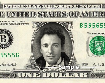 BRUCE SPRINGSTEEN on a REAL Dollar Bill Money Cash Collectible Memorabilia Celebrity Novelty