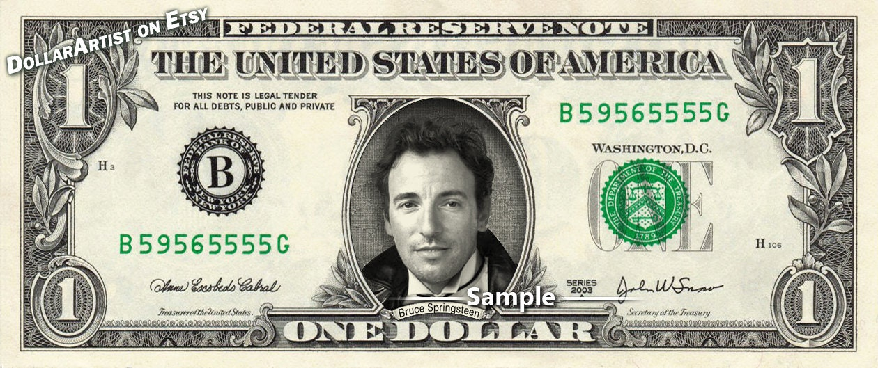 Image result for images of bruce springsteen on a dollar bill