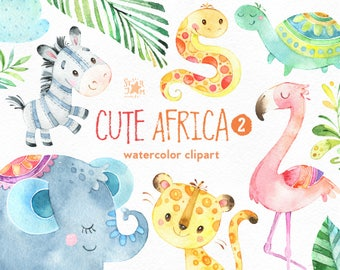 Cute Africa 2. Watercolor animals clipart, flamingo, snake, zebra, turtle, elephant, cheetah, greeting, invite, jungle, floral, leaves, baby