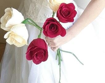 Bride bouquet, Ivory Red Wedding bouquet, Crepe paper flowers, Bridal flowers