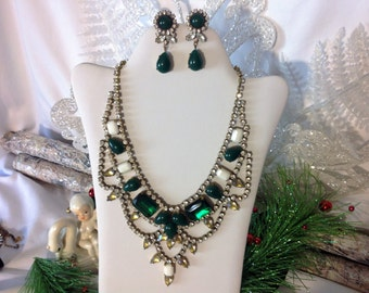 Fabulous Green Rhinestone Statement Necklace,  Emerald Green Rhinestone Necklace, Rhinestone Jewelry Set, Gift for Her, Estate Jewelry
