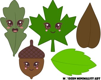 Cute Leaf Clipart Green and Brown – 5 PNG Images