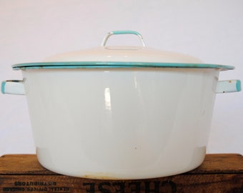 Vintage White and Teal Enamelware Handled Pot with Lid
