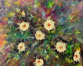 Flowers Wall Art, Abstract Flowers,  Wall Decor, Oil Painting On Canvas by Volodymyr Myriyevskyy- Rays of light- Size: 20'' x 16'' (50x40cm)