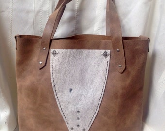 Handmade Distressed leather tote bag
