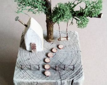 Driftwood Art, Reclaimed Wooden House, Recycled, House Ornament, Coastal Art, Rustic, Garden, House Warming