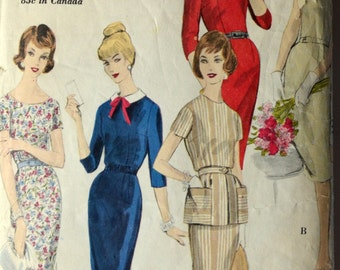 1960s Vogue Vintage Sewing Pattern 9988, Size 12; One-Piece Dress and Tunic