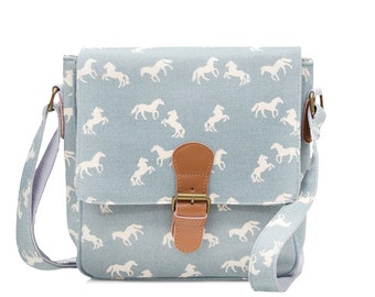 Oilcloth Crossbody bag- Horse print bag- Oil cloth Ladies Purse - Ladies Handbag- Horse Satchel - Teenage girl bag - young girl horse bag