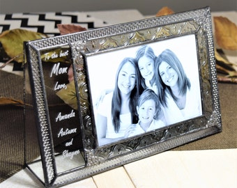 Personalized Gift for Mom Picture Frame Birthday Gift for Mom Stained Glass Engraved Photo Frame 4x6 Horizontal Landscape Pic 393-46H EP529