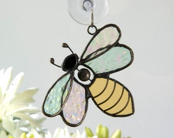 Stained Glass Bee Suncatcher Window Ornament Bumble Bee Gifts for the Gardener Yellow Jacket Insect Orn 175