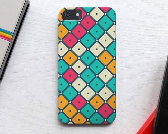 Square Pattern iPhone 5S Case, Geometric iPhone 7 Case, Vintage Squares Pattern iPhone 6s Case, Colorful iPhone SE Case