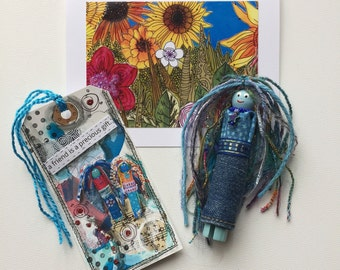Best Friend Gift Set,  Friendship Appreciation Gift for Her, Worry Doll Card Bookmark Gift Set