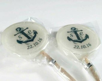 Wedding Favours, beach wedding, Nautical Wedding Favours, Personalised Lollipops, navy,  anchors, hard candy lollies, handmade, Nautical