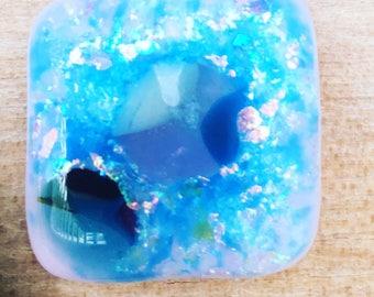 Ocean blue glow in the dark glass pendant