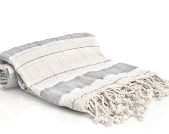 100% Cotton Bold Striped Turkish Towel - Fouta - Pestemal Towel - Gray