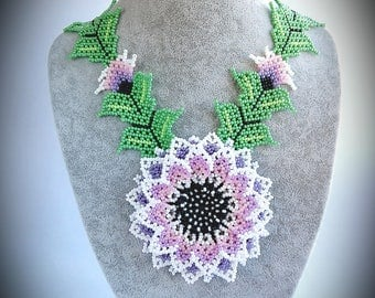 Huichol style Necklace, Large Necklace, Mexican style beaded jewelry