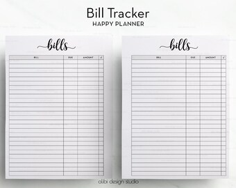 Bill Tracker, Happy Planner, Happy Planner Printable, Bill Inserts, Finance Planner, MAMBI Insert, Bills Calendar, Monthly Bill Organizer