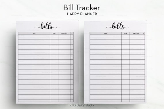 Bill Tracker Happy Planner Happy Planner Printable Bill