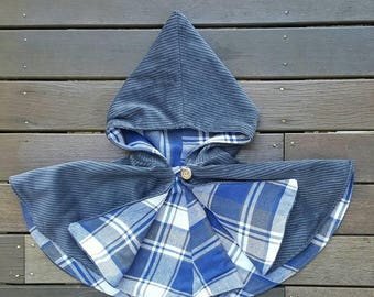 Girls hooded capelet // cape // jacket // hood // corduroy // grey // flannel // blue