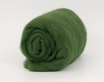 DarkOlive B159 Carded Wool Batt 26mic  1.77oz (50gr) Felting wool, for spinning and needle felting.  100% wool.