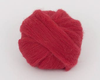 SatinRed B227, 24mic merino wool, 1.78oz (50gr) for needle felting, wet felting, spinning. 100% wool.