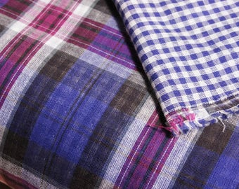 Japanese Cotton Double Gauze Fabric by 1/4 Metre, Purple Blue Plaid Fabric, Blue Gingham, Double Gauze Plaid Fabric, Yarn Dyed Soft Fabric