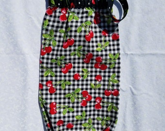 Cherries and Checks Recycle Plastic Grocery Bags Holder and Dispenser, Storage Holder for Loose Plastic Grocery Bags.
