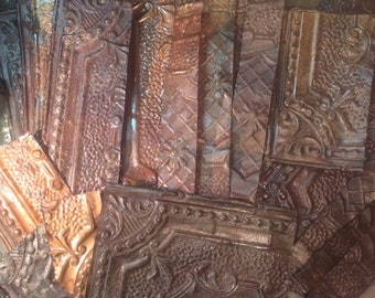 Vintage 1930's Ceiling Tin Tiles/ Reclaimed Salvaged Decorative Ceiling Tin Tiles