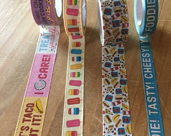 """Recollections food washi tape sample 24 inches on a plastic tag / planner supplies / planner accessories / personal planner / A5 planner24"""""""