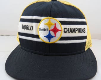 1975 Pittsburgh Steelers World Champions Hat - By AJD - Trucker Style