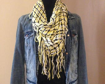 Triloom Shawl - 6' - Pittsburgh Colors! Black and Gold