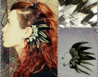 Left ear. Handmade natural black feather ear cuff