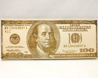100 dollar bill wood laser engraving