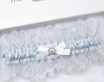 Blue Silk Wedding Garter, Bridal Garter, Garter, Wedding Garter, Blue Wedding Garter, White Eyelash Lace Garter, Blue Garter, Silk Garter