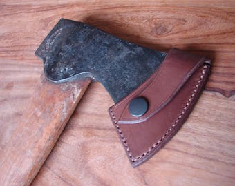 Brown leather axe sheath for Gransfors Bruks small forest axe