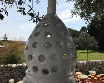 Hanging / standing  large candle pottery hand painted italian lantern 14 x 8 inches