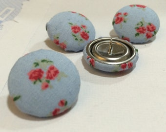 Floral fabric covered buttons 4 x 22mm