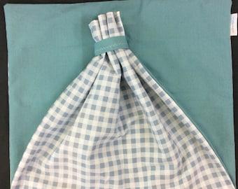 Blue Gingham - Baby Shower Gift Bag - Fabric Gift Bag - Jumbo Gift Bag - Cloth Gift Bag - 24 x 44 - Farmhouse Gift Bag - Wedding Gift