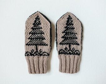 Child's Wool Mittens in tan & black - Evergreen Tree